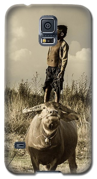 Kid And Cow Galaxy S5 Case by Arik S Mintorogo