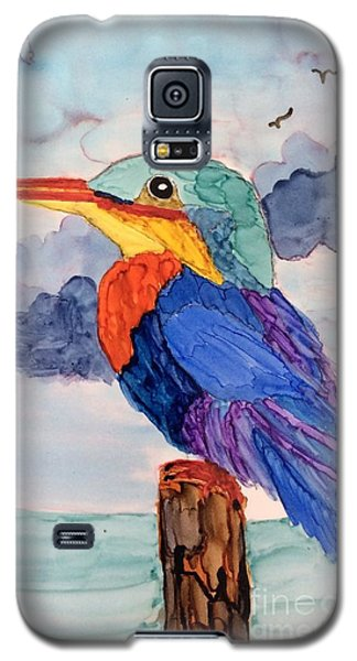Galaxy S5 Case featuring the painting Kingfisher On Post by Suzanne Canner