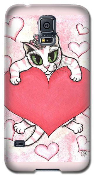 Galaxy S5 Case featuring the painting Kitten With Heart by Carrie Hawks