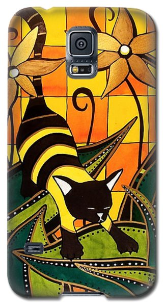 Galaxy S5 Case featuring the painting Kitty Bee - Cat Art By Dora Hathazi Mendes by Dora Hathazi Mendes