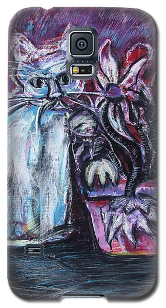 Kitty With Flowers Galaxy S5 Case