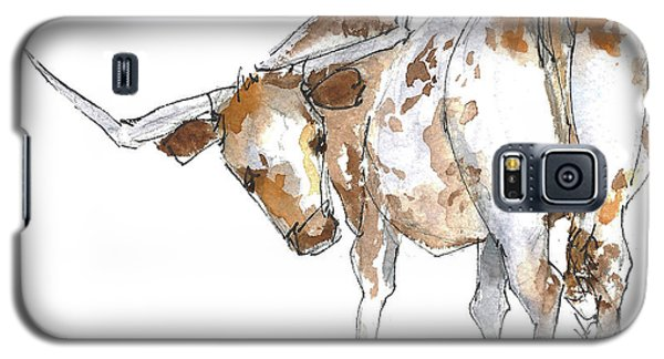 Kmcelwaine Logo Longhorn, Ollie, Texas Longhorn Art Print,watercolor Cow Painting, Whimsical, Galaxy S5 Case
