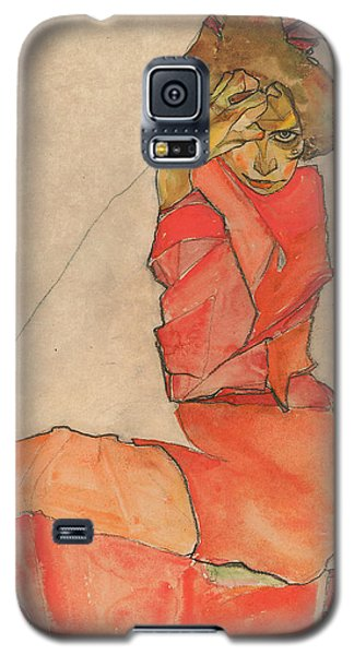 Kneeling Female In Orange-red Dress Galaxy S5 Case