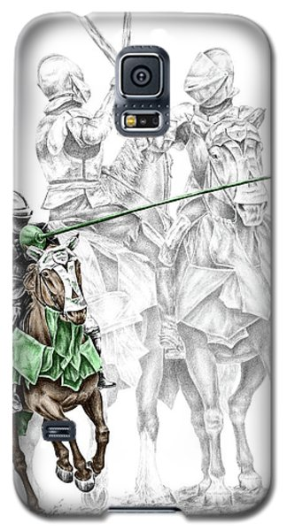 Galaxy S5 Case featuring the drawing Knight Time - Renaissance Medieval Print Color Tinted by Kelli Swan