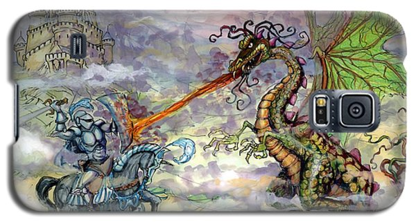 Galaxy S5 Case featuring the painting Knights N Dragons by Kevin Middleton