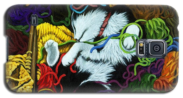 Galaxy S5 Case featuring the painting Knitter's Helper - Cat Painting by Linda Apple