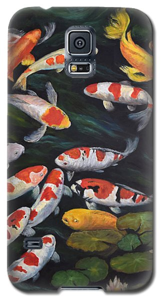 Galaxy S5 Case featuring the painting Koi Among The Lily Pads II by Sandra Nardone