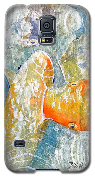 Galaxy S5 Case featuring the painting Koi Carp Feeding Frenzy by Bill Holkham