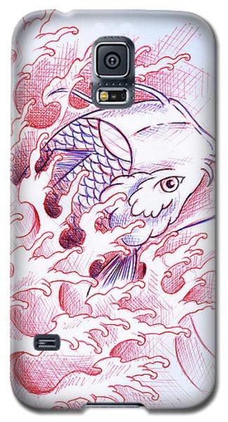 Koi Galaxy S5 Case - Koi Tattoo Sketch by Samuel Whitton
