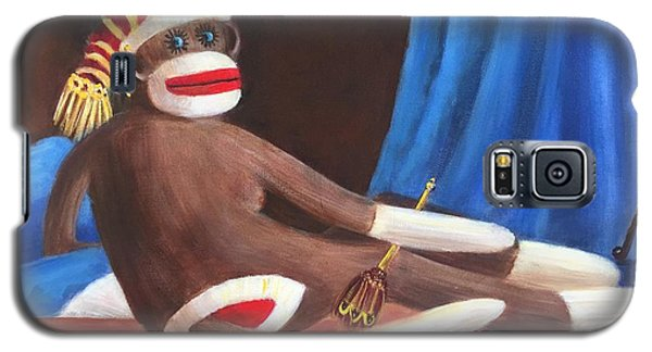 Galaxy S5 Case featuring the painting La Grande Sock Monkey by Randol Burns