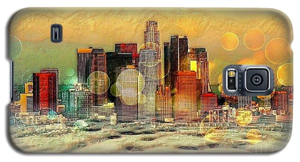 Galaxy S5 Case featuring the digital art Los Angeles Skyline By Nico Bielow by Nico Bielow