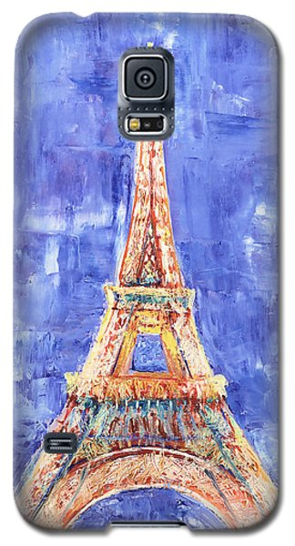 Galaxy S5 Case featuring the painting La Tour Eiffel by Elizabeth Lock