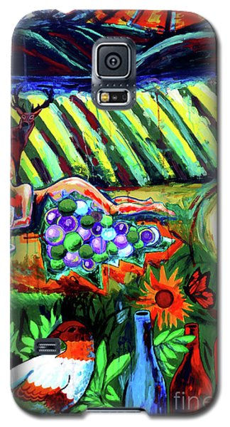 Galaxy S5 Case featuring the painting Lady And The Grapes by Genevieve Esson