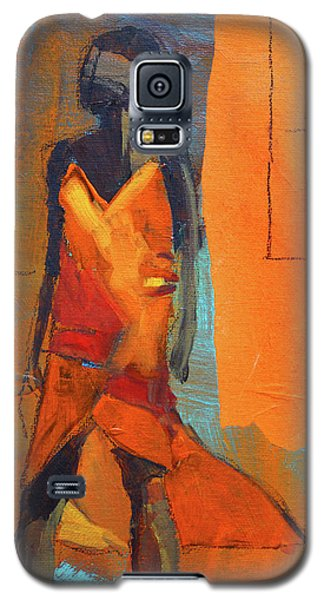 Galaxy S5 Case featuring the painting Lady In Orange by Nancy Merkle