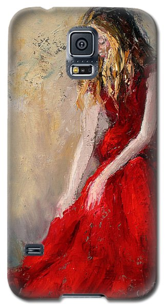 Galaxy S5 Case featuring the painting Lady In Red 2 by Jennifer Beaudet