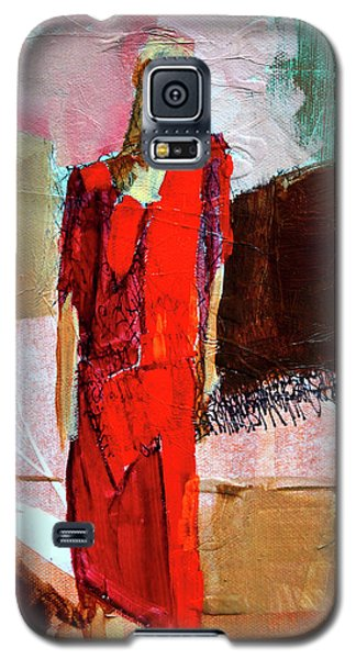 Galaxy S5 Case featuring the painting Lady In Red by Nancy Merkle