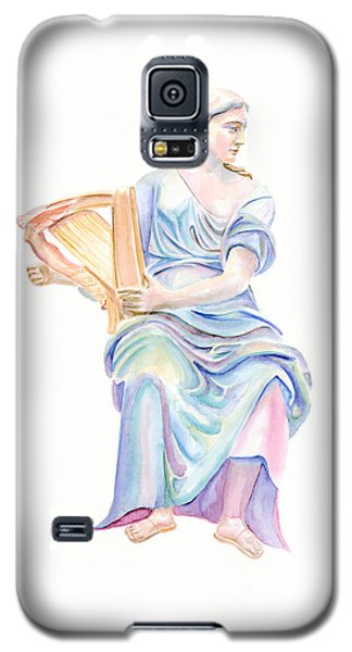Galaxy S5 Case featuring the painting Lady With The Golden Harp by Elizabeth Lock