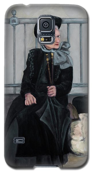 Galaxy S5 Case featuring the painting Lady With Two Umbrellas by Sandra Nardone