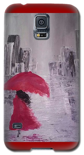 Laidy In The City Abstract Art Galaxy S5 Case by Sheila Mcdonald