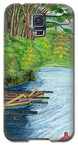 Galaxy S5 Case featuring the painting Lake Bratan Boats Bali Indonesia by Melly Terpening