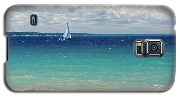 Galaxy S5 Case featuring the photograph Lake Huron Sailboat by Meta Gatschenberger