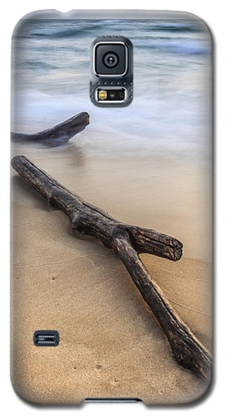 Galaxy S5 Case featuring the photograph Lake Michigan Beach Driftwood by Adam Romanowicz