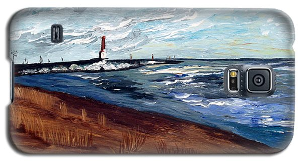 Galaxy S5 Case featuring the painting Lake Michigan Beauty by Ayasha Loya