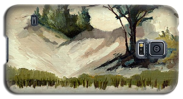 Galaxy S5 Case featuring the painting Lake Michigan Dune With Trees And Beach Grass by Michelle Calkins