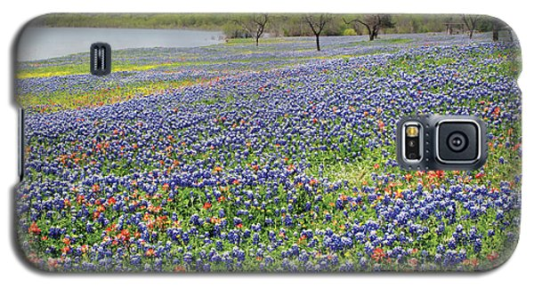 Galaxy S5 Case featuring the photograph Lakeside Texas Bluebonnets by David and Carol Kelly