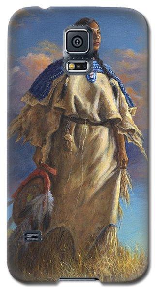 Galaxy S5 Case featuring the painting Lakota Woman by Kim Lockman