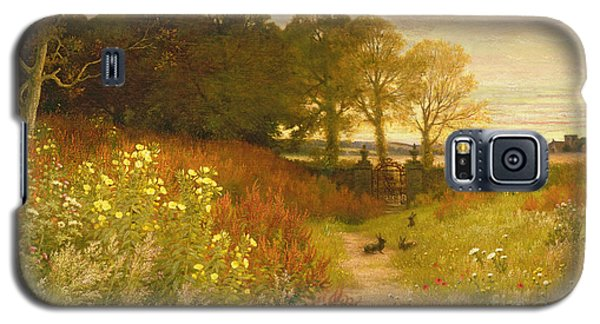 Landscape With Wild Flowers And Rabbits Galaxy S5 Case by Robert Collinson