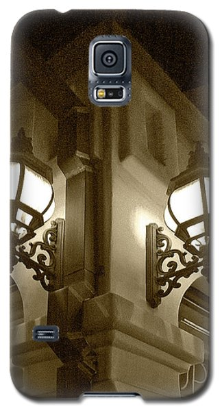 Galaxy S5 Case featuring the photograph Lanterns - Night In The City - In Sepia by Ben and Raisa Gertsberg
