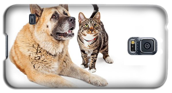 Large Dog And Cat Looking Up Together Galaxy S5 Case