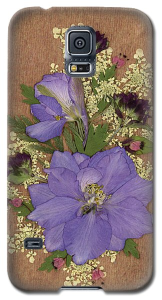 Larkspur And Queen-ann's-lace Pressed Flower Arrangement Galaxy S5 Case
