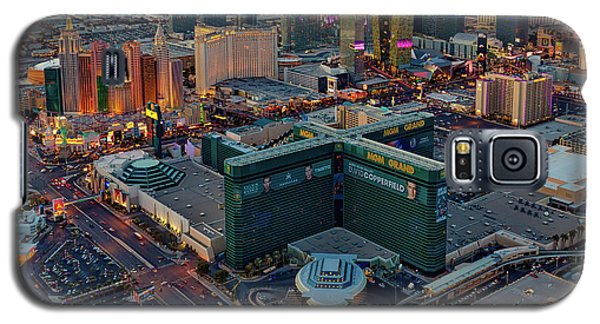 Galaxy S5 Case featuring the photograph Las Vegas Nv Strip Aerial by Susan Candelario