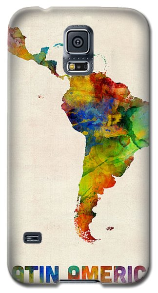Galaxy S5 Case featuring the digital art Latin America Watercolor Map by Michael Tompsett