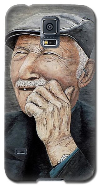 Galaxy S5 Case featuring the painting Laughing Old Man by Judy Kirouac