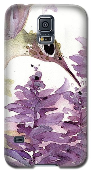 Galaxy S5 Case featuring the painting Lavender Hummer by Dawn Derman