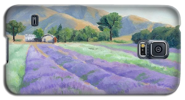 Galaxy S5 Case featuring the painting Lavender Lines by Sandy Fisher