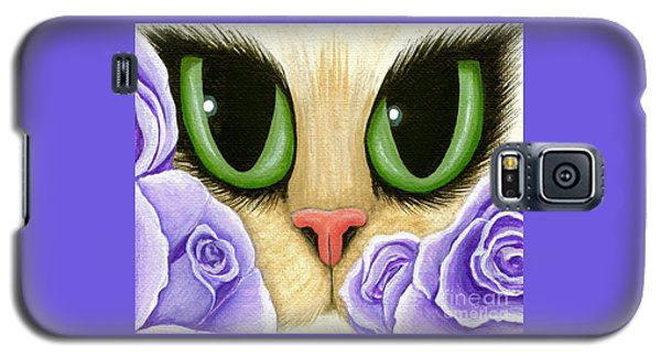Lavender Roses Cat - Green Eyes Galaxy S5 Case by Carrie Hawks