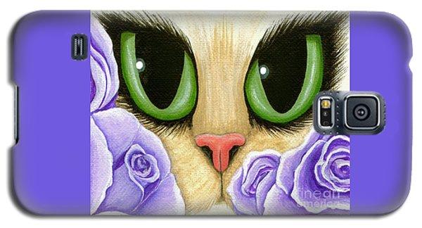 Lavender Roses Cat - Green Eyes Galaxy S5 Case
