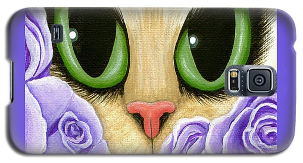 Galaxy S5 Case featuring the painting Lavender Roses Cat - Green Eyes by Carrie Hawks