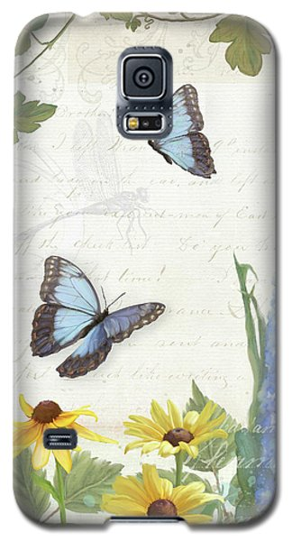 Le Petit Jardin 1 - Garden Floral W Butterflies, Dragonflies, Daisies And Delphinium Galaxy S5 Case by Audrey Jeanne Roberts