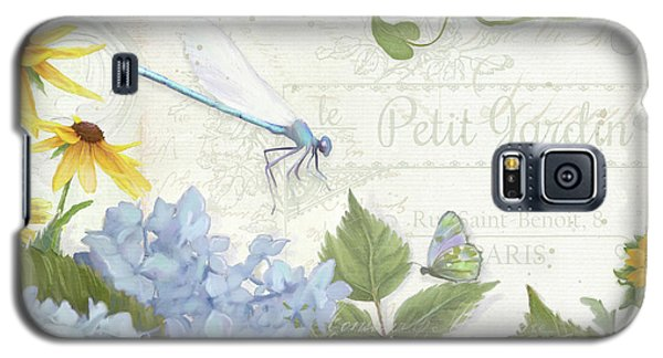 Le Petit Jardin 2 - Garden Floral W Dragonfly, Butterfly, Daisies And Blue Hydrangeas Galaxy S5 Case by Audrey Jeanne Roberts