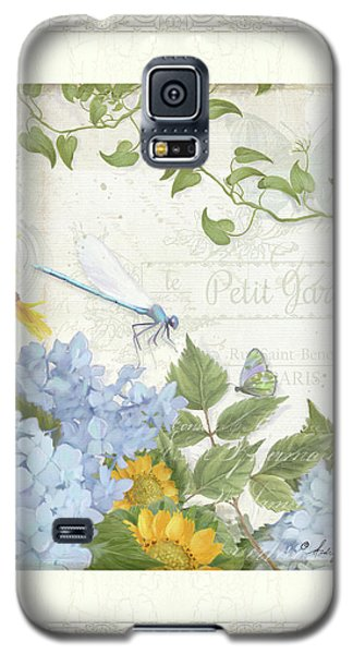 Le Petit Jardin 2 - Garden Floral W Dragonfly, Butterfly, Daisies And Blue Hydrangeas W Border Galaxy S5 Case by Audrey Jeanne Roberts