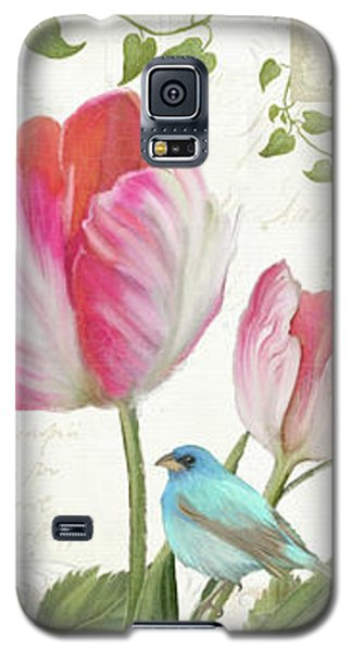 Le Petit Jardin - Collage Garden Floral W Butterflies, Dragonflies And Birds Galaxy S5 Case by Audrey Jeanne Roberts