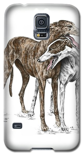 Galaxy S5 Case featuring the drawing Lean On Me - Greyhound Dogs Print Color Tinted by Kelli Swan