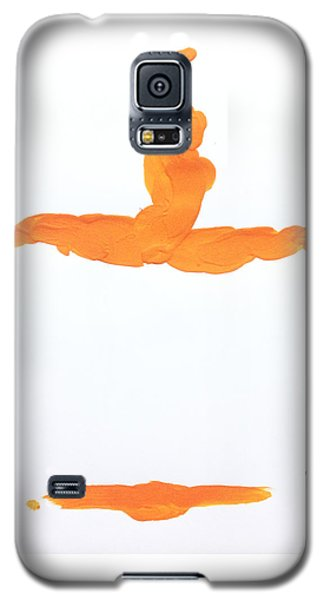 Galaxy S5 Case featuring the painting Leap Brush Orange 1 by Shungaboy X