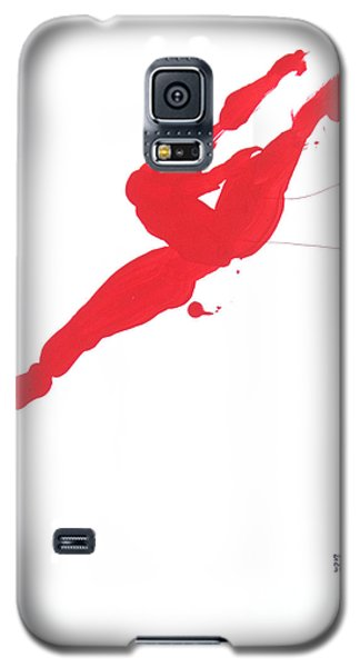 Galaxy S5 Case featuring the painting Leap Brush Red 3 by Shungaboy X
