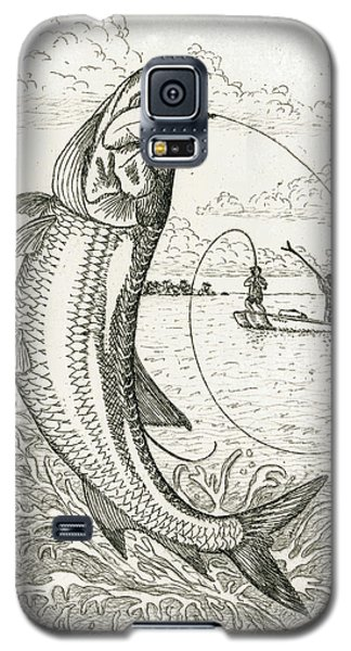 Galaxy S5 Case featuring the drawing Leaping Tarpon by Charles Harden
